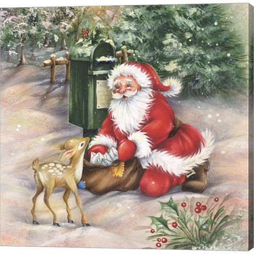 Santa's Meeting At The Mailbox Gallery Wrapped Canvas Wall Art On Deep Stretch Bars