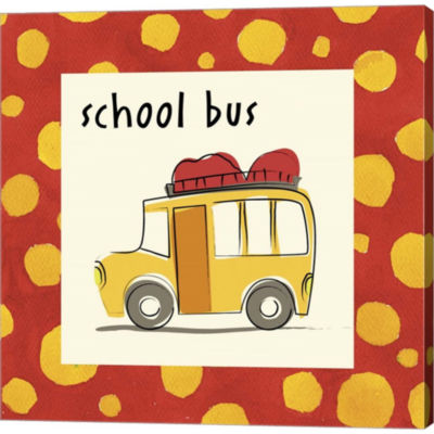 Metaverse Art School Bus With Border Gallery Wrapped Canvas Wall Art