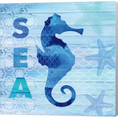 Metaverse Art Sea Glass Seahorse Gallery Wrapped Canvas Wall Art