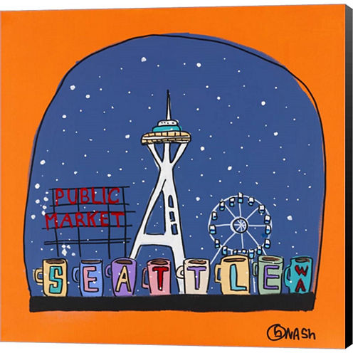 Seattle Snow Globe Gallery Wrapped Canvas Wall ArtOn Deep Stretch Bars
