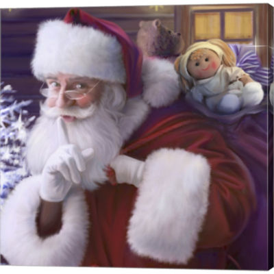 Metaverse Art Shhh Santa's Doll And Bear Gallery Wrapped Canvas Wall Art