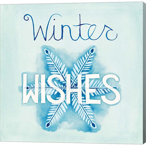 Snowflake Sayings II Gallery Wrapped Canvas Wall Art On Deep Stretch Bars