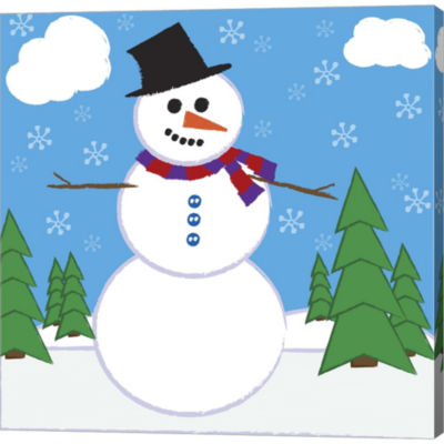 Metaverse Art Snowman 1 Gallery Wrapped Canvas Wall Art