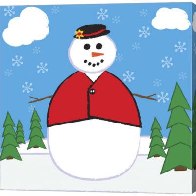 Metaverse Art Snowman 2 Gallery Wrapped Canvas Wall Art