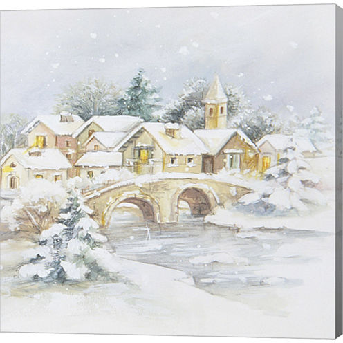 Snowy Winter VIllage Scene Gallery Wrapped CanvasWall Art On Deep Stretch Bars