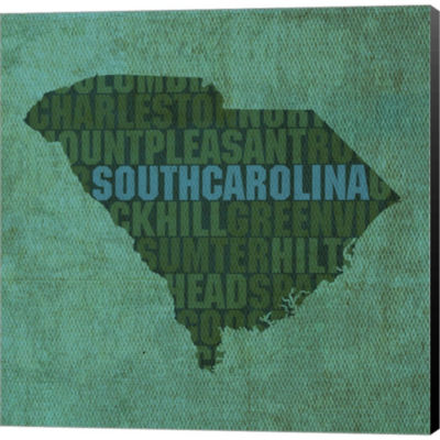 Metaverse Art South Carolina State Words Gallery Wrapped Canvas Wall Art