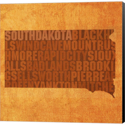 Metaverse Art South Dakota State Words Gallery Wrapped Canvas Wall Art