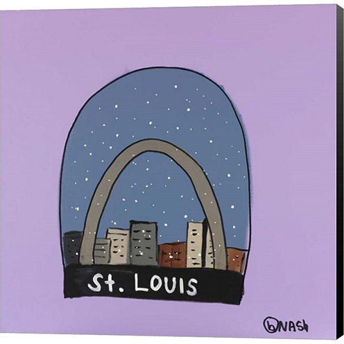 St. Louis Snow Globe Gallery Wrapped Canvas Wall Art On Deep Stretch Bars
