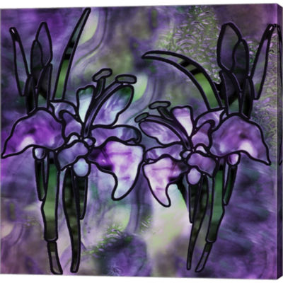 Stained Glass Orchids Gallery Wrapped Canvas WallArt On Deep Stretch Bars