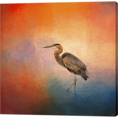 Metaverse Art Sunset Heron Gallery Wrapped CanvasWall Art