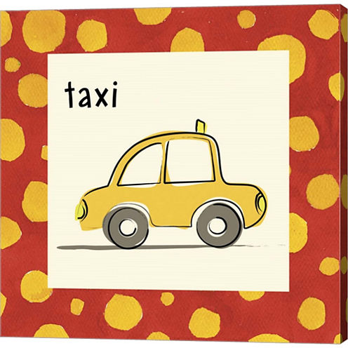 Taxi With Border Gallery Wrapped Canvas Wall Art On Deep Stretch Bars