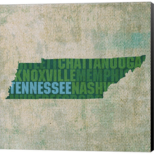 Tennessee State Words Gallery Wrapped Canvas WallArt On Deep Stretch Bars