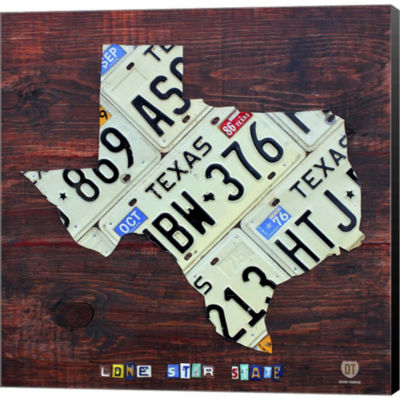 Metaverse Art Texas License Plate Map Large Gallery Wrapped Canvas Wall Art