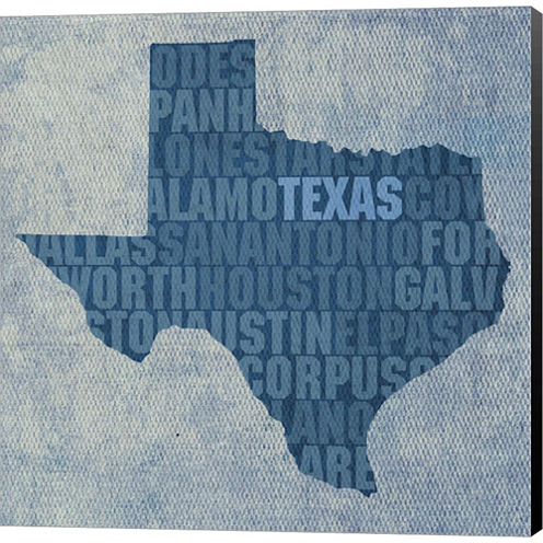 Texas State Words Gallery Wrapped Canvas Wall ArtOn Deep Stretch Bars