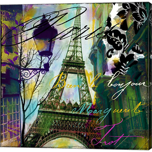 To Paris With Love I Gallery Wrapped Canvas Wall Art On Deep Stretch Bars