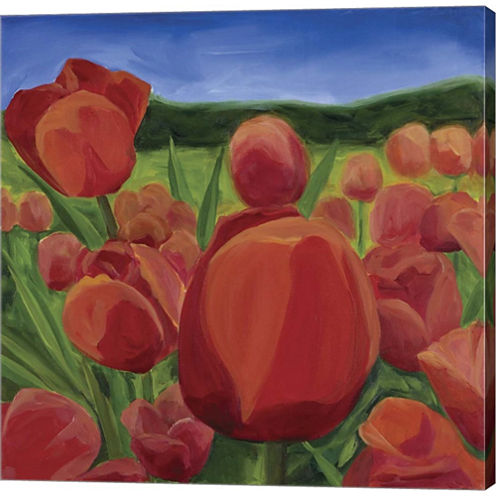 Tulips In Meadow Gallery Wrapped Canvas Wall Art On Deep Stretch Bars
