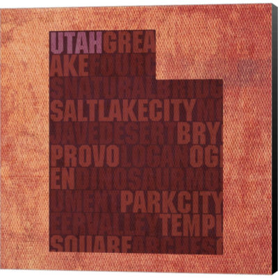 Metaverse Art Utah State Words Gallery Wrapped Canvas Wall Art