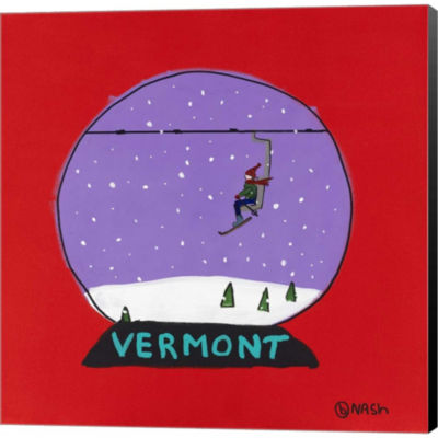 Metaverse Art Vermont Snow Globe Gallery Wrapped Canvas Wall Art