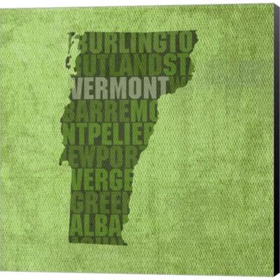 Metaverse Art Vermont State Words Gallery WrappedCanvas Wall Art