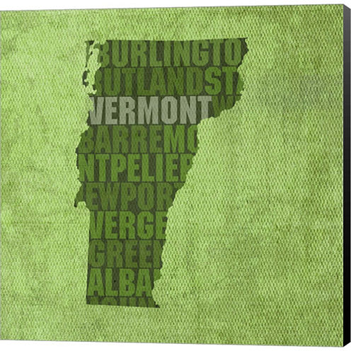 Vermont State Words Gallery Wrapped Canvas Wall Art On Deep Stretch Bars