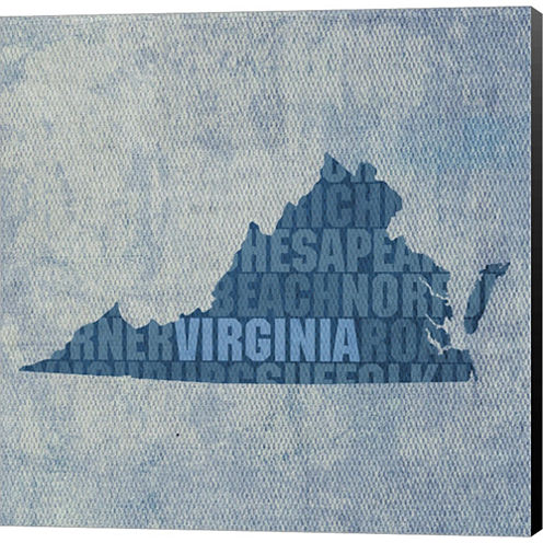 Virginia State Words Gallery Wrapped Canvas Wall Art On Deep Stretch Bars