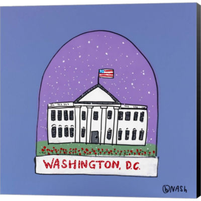 Metaverse Art Washington D.C. Snow Globe Gallery Wrapped Canvas Wall Art