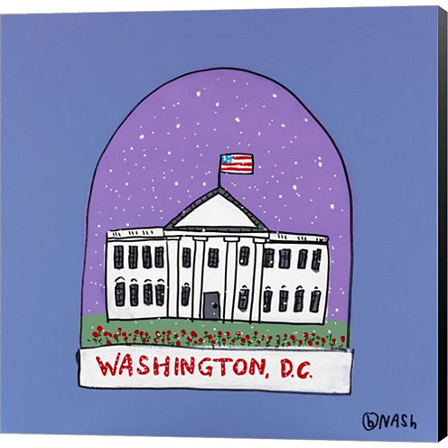 Washington D.C. Snow Globe Gallery Wrapped CanvasWall Art On Deep Stretch Bars