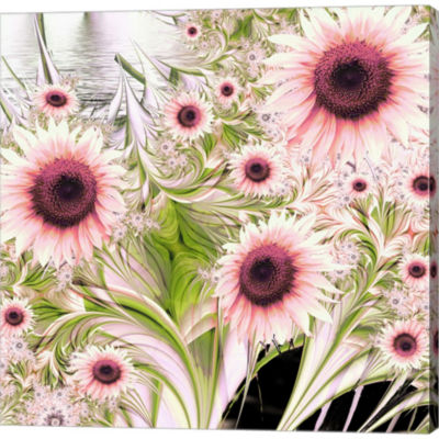 Metaverse Art Water Sunflowers Gallery Wrapped Canvas Wall Art