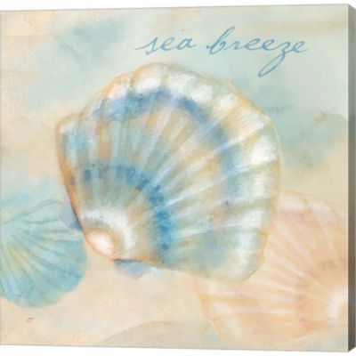 Metaverse Art Watercolor Shell Sentiments I Gallery Wrapped Canvas Wall Art