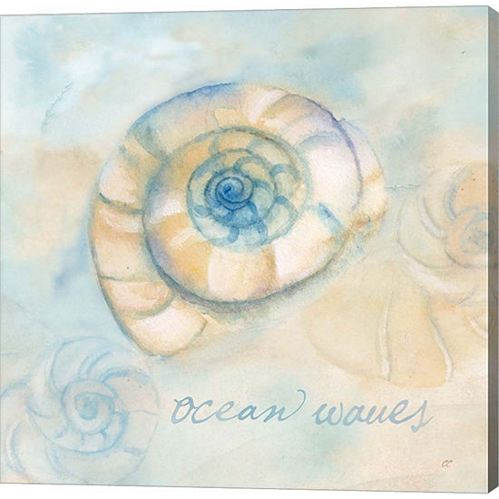 Metaverse Art Watercolor Shell Sentiments III Gallery Wrapped Canvas Wall Art