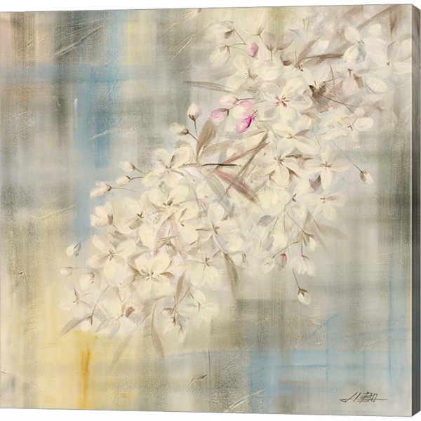 White Cherry Blossom II Gallery Wrapped Canvas Wall Art On Deep Stretch Bars