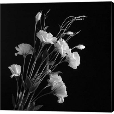 Metaverse Art White Flowers Gray Gallery Wrapped Canvas Wall Art