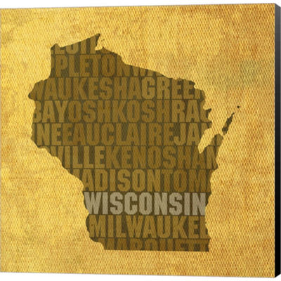 Metaverse Art Wisconsin State Words Gallery Wrapped Canvas Wall Art