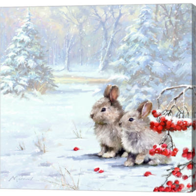 Metaverse Art Woodland Rabbits Gallery Wrapped Canvas Wall Art