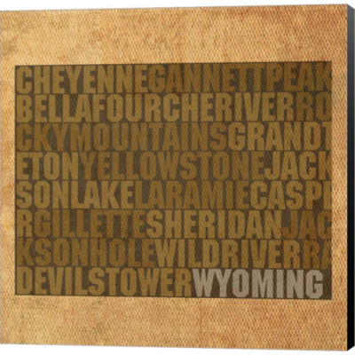 Metaverse Art Wyoming State Words Gallery WrappedCanvas Wall Art