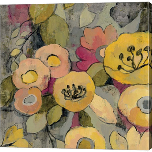 Yellow Floral Duo II Gallery Wrapped Canvas Wall Art On Deep Stretch Bars
