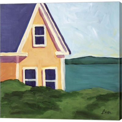 Metaverse Art Yellow House Gallery Wrapped CanvasWall Art