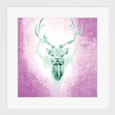 Metaverse Art Mosaic Deer Framed Print Wall Art