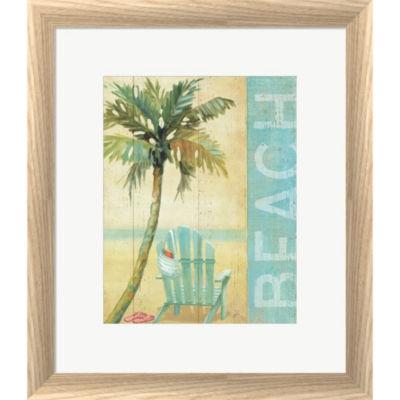 Metaverse Art Ocean Beach I Framed Print Wall Art