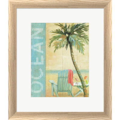 Metaverse Art Ocean Beach II Framed Print Wall Art