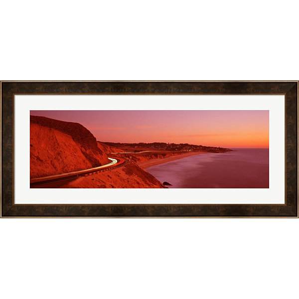 Metaverse Art Pacific Coast Highway At Sunset California Framed Print Wall Art