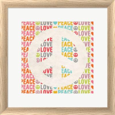 Metaverse Art Peace Love 2 Framed Print Wall Art
