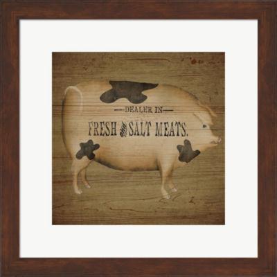 Pig Sign Framed Print Wall Art