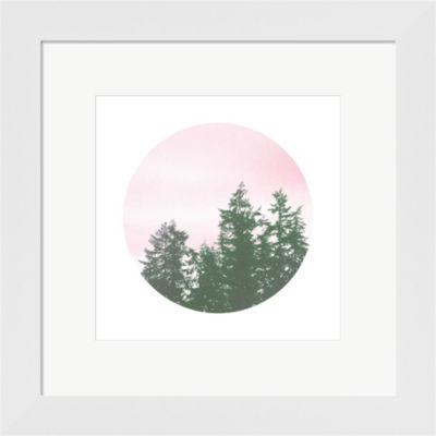 Metaverse Art Pink Sky Over Trees Framed Print Wall Art