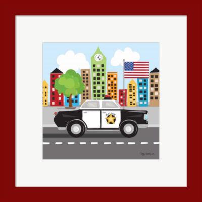Metaverse Art Police Car Framed Print Wall Art