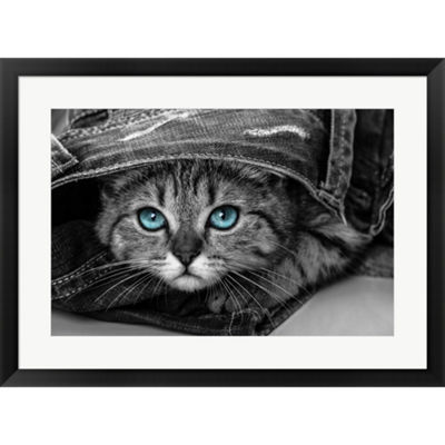 Metaverse Art Pop Of Color Kitten Framed Print Wall Art