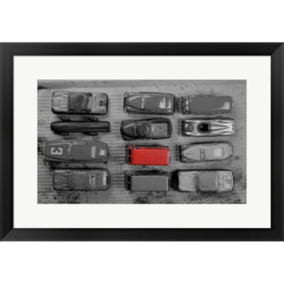Metaverse Art Pop Of Color Old Toy Cars Framed Print Wall Art