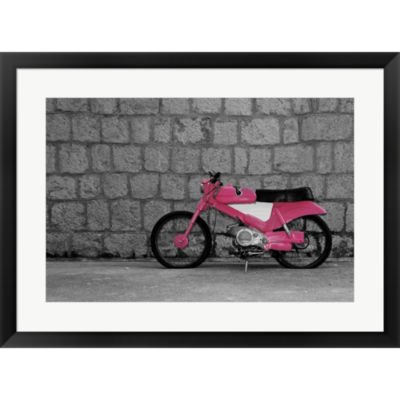 Metaverse Art Pop Of Color Pink Motorcycle FramedPrint Wall Art