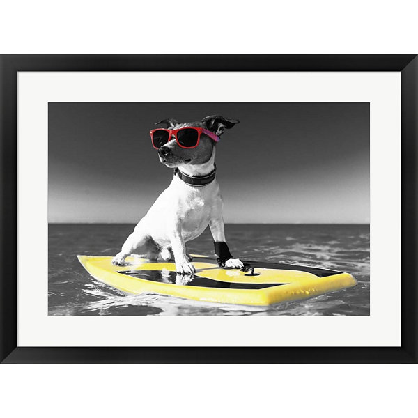 Metaverse Art Pop Of Color Surf's Up Dog Framed Print Wall Art