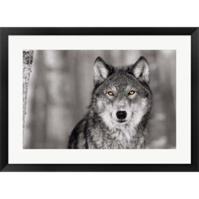 Metaverse Art Pop Of Color Wolf Framed Print WallArt